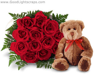 Teddy Bear With Flower Scraps Images Pictures For Orkut Myspace